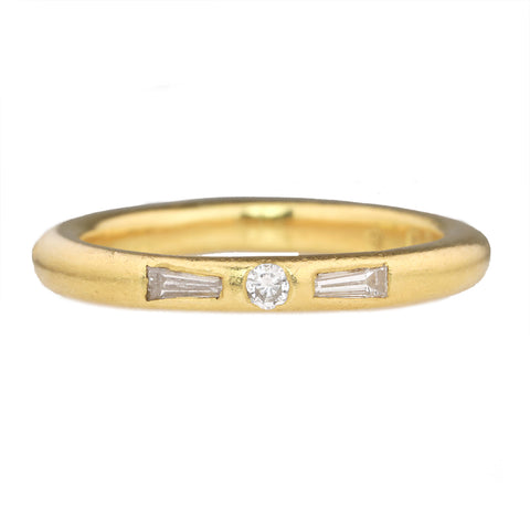 22K Gold Band with Round Center Diamond and Two Tapered Diamond Baguettes