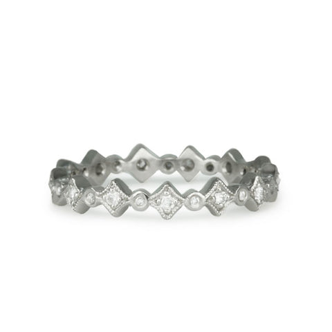"Platinum and Diamond ""Geometric"" Ring"