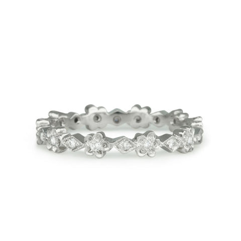 "Platinum and Diamond ""Tiny Scalloped Flower Band"" Ring"