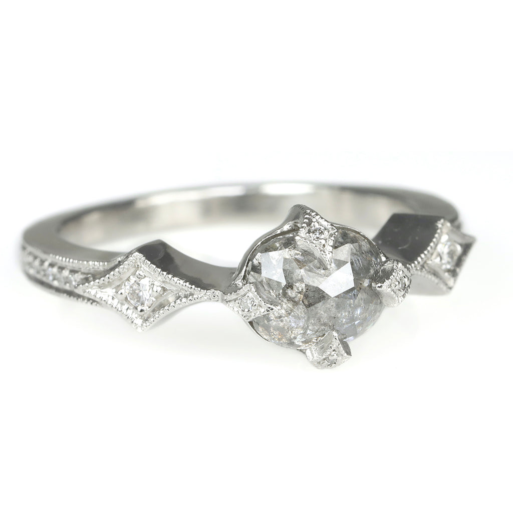 "Platinum and Diamond ""Antique"" Prong-Set Ring"