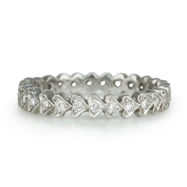 "Platinum and Diamond ""Continuous Heart"" Ring"