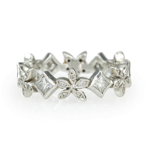 "Platinum and Diamond ""Flower"" Ring"