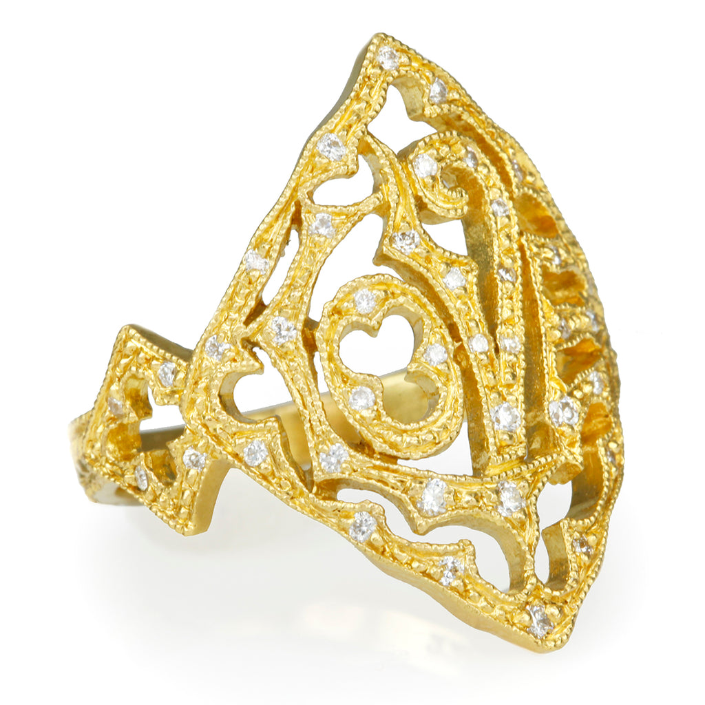 "22K Gold and Diamond ""Love"" Ring"