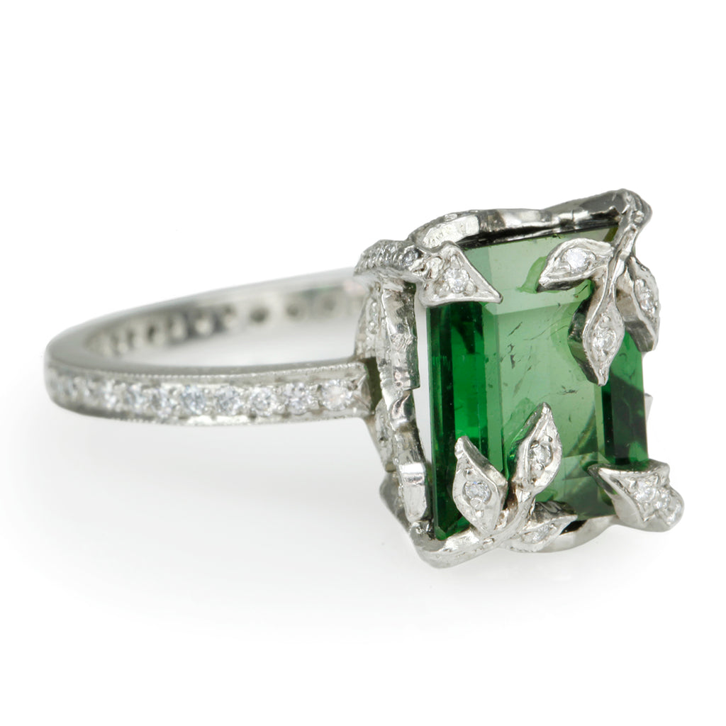 "Platinum and Diamond ""Forest"" Ring with Emerald-Cut Green Tourmaline"