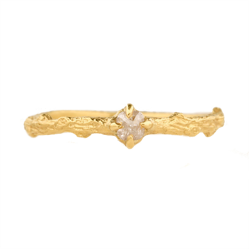 "Cathy Waterman 22K Gold ""Branch"" Ring with Pink Cushion Argyle Diamond"