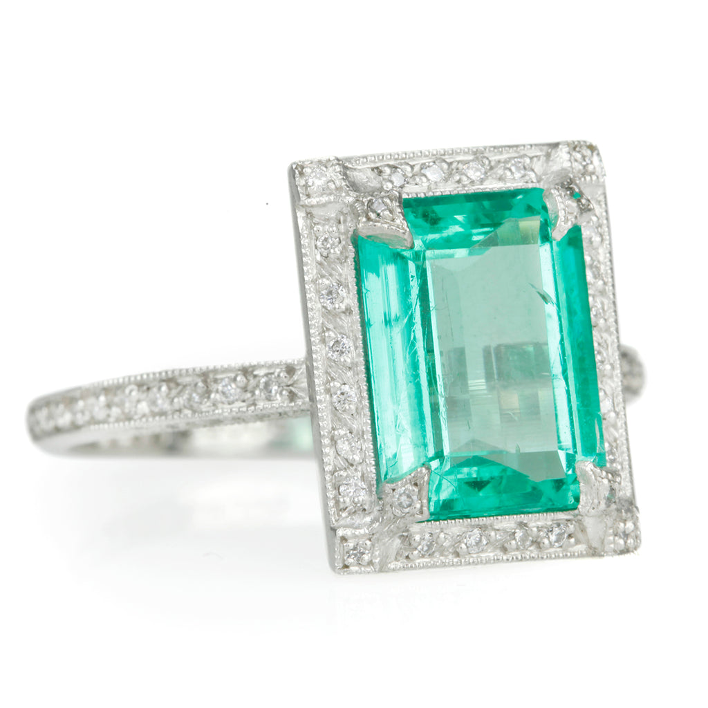 "Emerald and Platinum ""Frame"" Ring with Pave Diamonds"