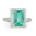 "Cathy Waterman Emerald and Platinum ""Frame"" Ring with Pave Diamonds"