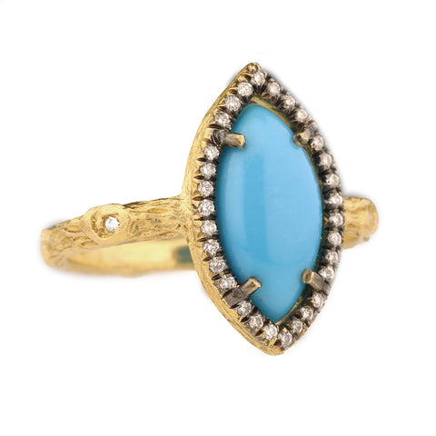 "22K Gold and Diamond ""Branch"" Ring with Marquise Sleeping Beauty Turquoise"