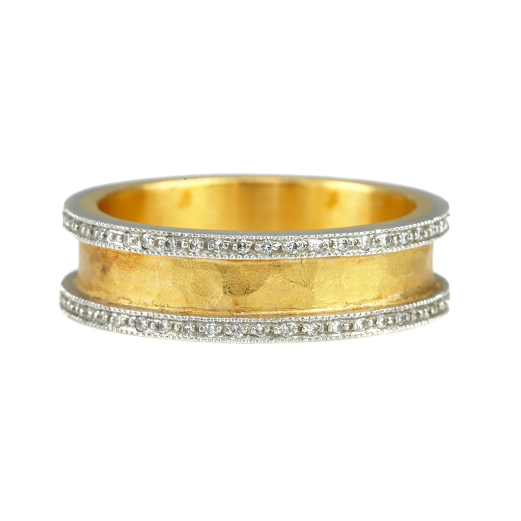 Gold and Platinum Hammered Ring with Diamonds