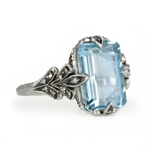 "Aquamarine ""Oak Leaf Basket"" Platinum and Diamond Ring"
