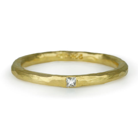 Cathy Waterman 22K Gold Hammered Band with Diamond