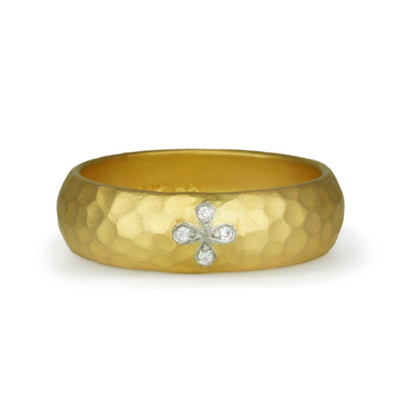 "22K Gold Hammered Ring with Diamond ""Four-Petal"""