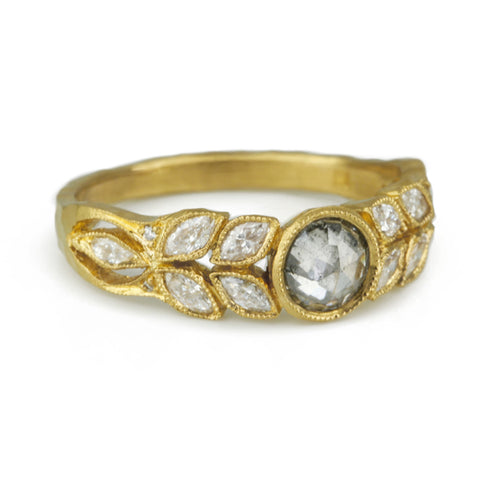 "Cathy Waterman 22K Gold and Grey Diamond ""Garland"" Ring"