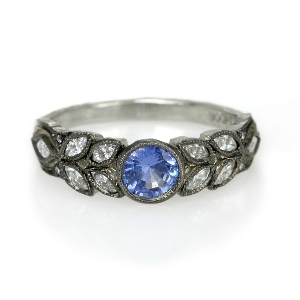 "Platinum and Blue Sapphire ""Garland"" Ring"