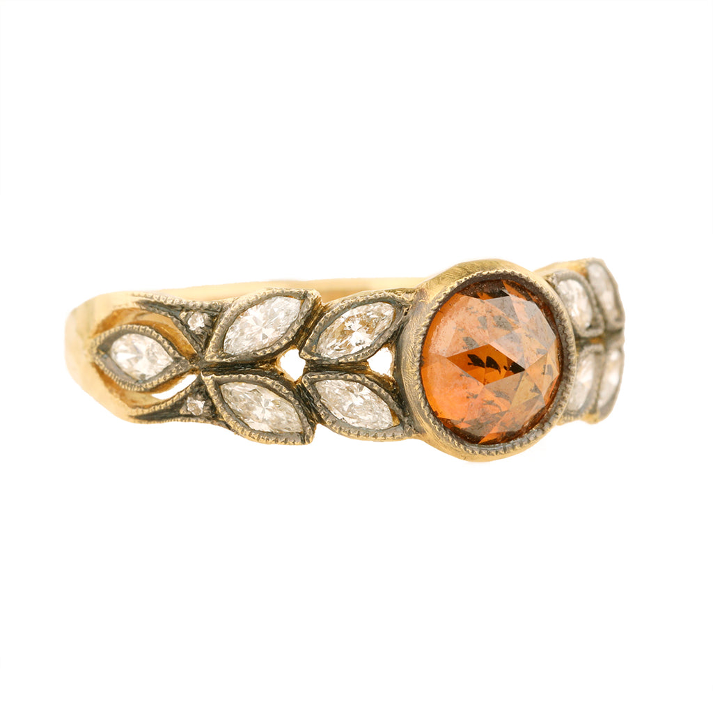 "Cathy Waterman 22K Gold Cognac Diamond ""Small Garland"" Ring with White Diamond Leaves"