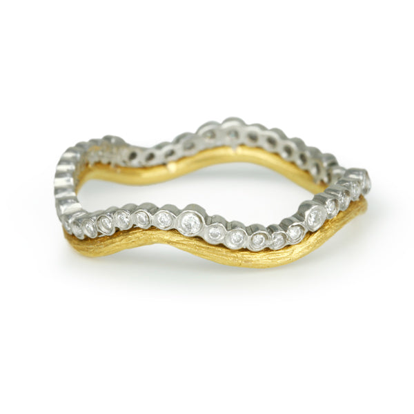 "Platinum and Gold ""Branch and Scallop"" Ring with Diamonds"
