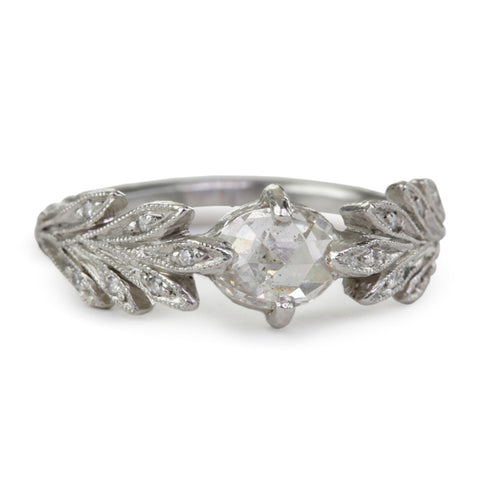 "Platinum and Rose-Cut Diamond ""Leafside"" Ring"