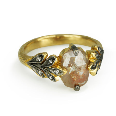 22K Gold Oak Leafside Ring with Rustic Diamond