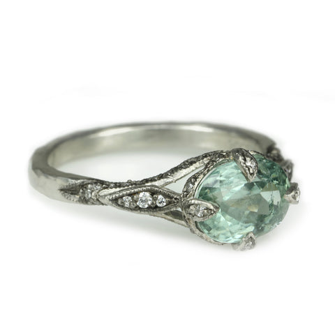 "Cathy Waterman Platinum and Oval Sea Green Tourmaline ""Petal Side"" Ring"