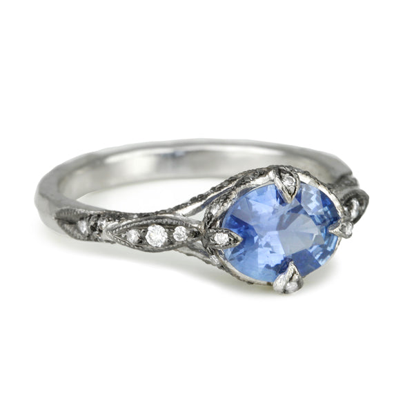 "Platinum and Blue Sapphire ""Petal Side"" Ring with Diamonds"