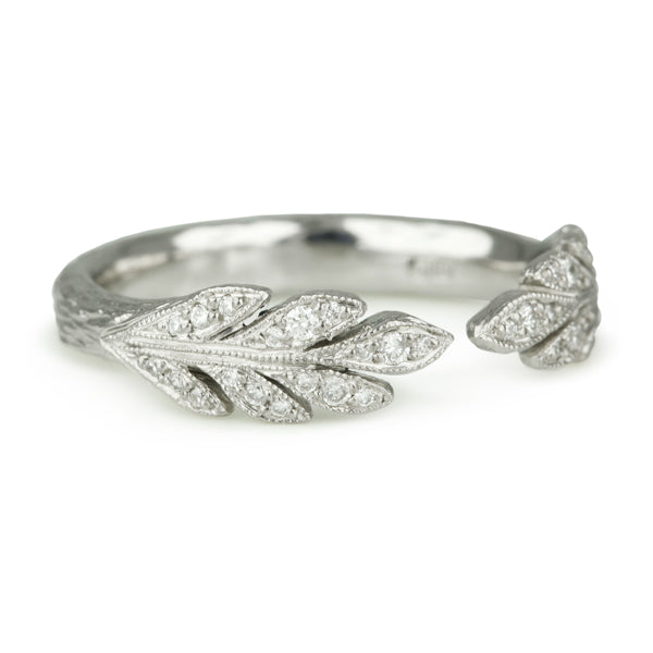 "Platinum and Diamond ""Open Leafside"" Ring"