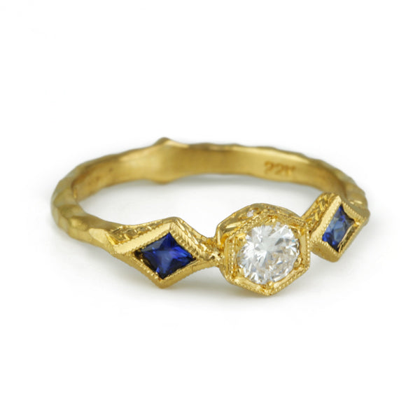 22K Gold Diamond Ring with Blue Sapphires
