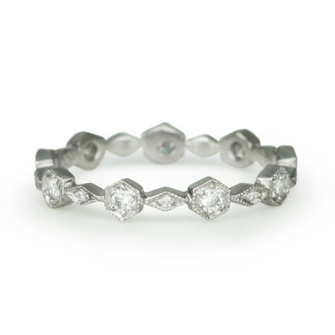 "Platinum and Diamond ""Hexagonal"" Ring"