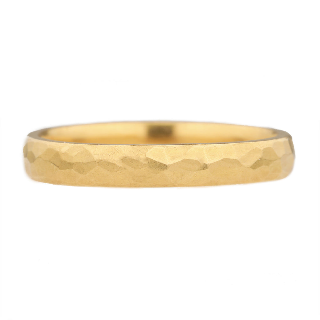 22K Gold 3mm Hammered Ring