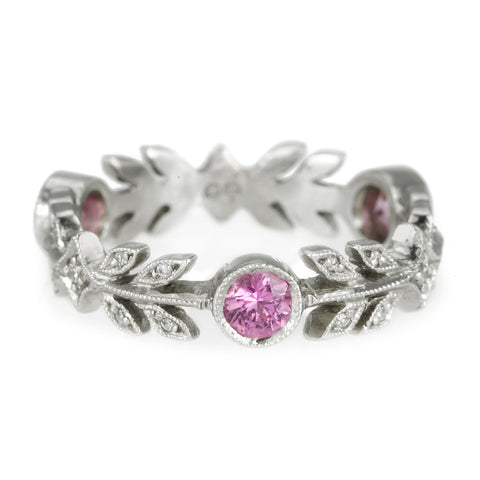 Platinum and Pink Sapphire Wheat Band
