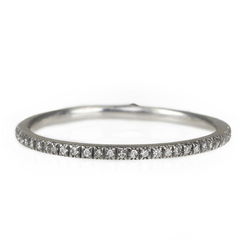 "Cathy Waterman Platinum ""Micro"" Blackened Pave Diamond Band"