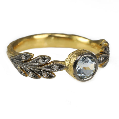 "Cathy Waterman Blackened 22K Gold ""Leafside"" Ring with Bezel-Set Aquamarine"