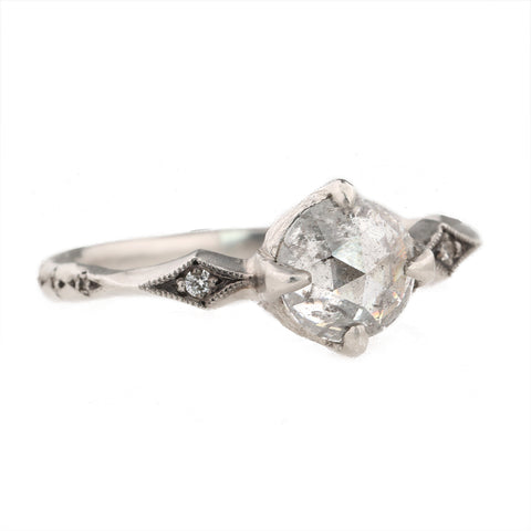 Cathy Waterman Platinum Prong-Set Rosecut Grey Diamond Ring