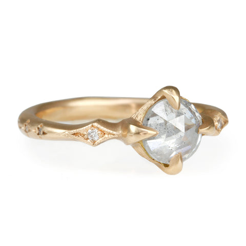 Cathy Waterman Rose Gold Pale Grey Rosecut Diamond Ring
