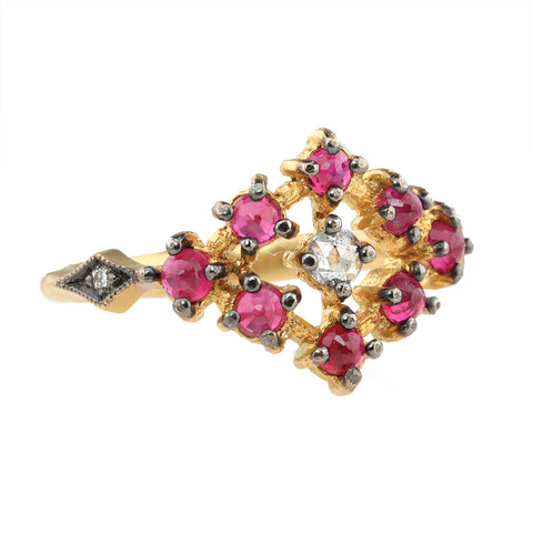 Cathy Waterman Blackened 22K Gold Ruby Ring with Grey Diamond Center