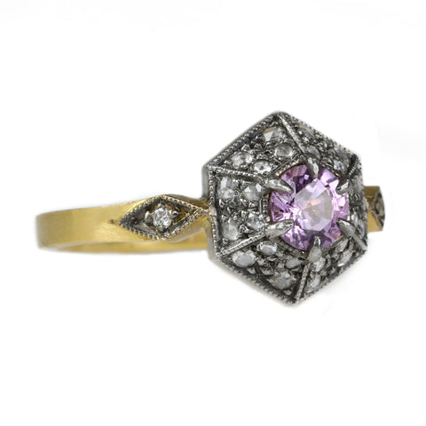 Cathy Waterman 22K Gold Pink Sapphire Ring with Hexgonal Diamond Border