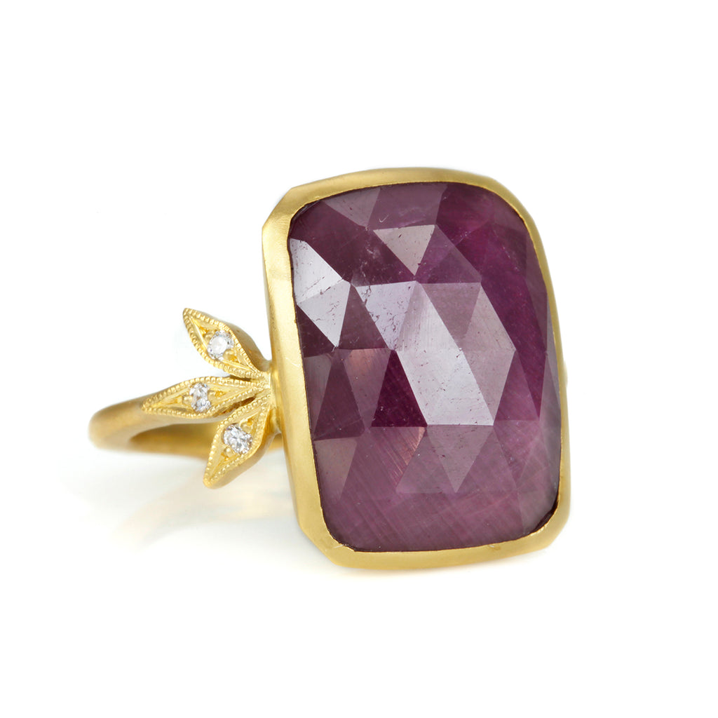 "22K Gold and Ruby ""Leafside"" Ring with Diamonds"