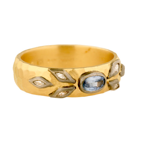 Cathy Waterman Hammered 22K Gold Band with Blue Sapphire & Diamond Leaves