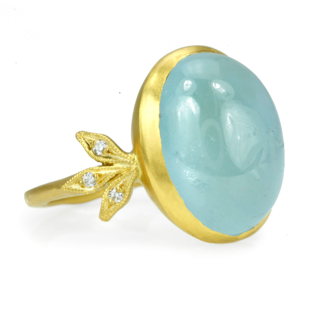 "Oval Cabochon Aquamarine ""Moderne"" Ring with Diamonds"
