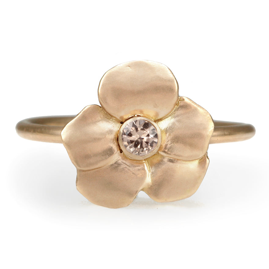 "Rose Gold ""Forest Violet"" Pink Sapphire Ring"