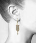 "Blackened 22K Gold and Diamond ""Medieval Flag"" Earrings"