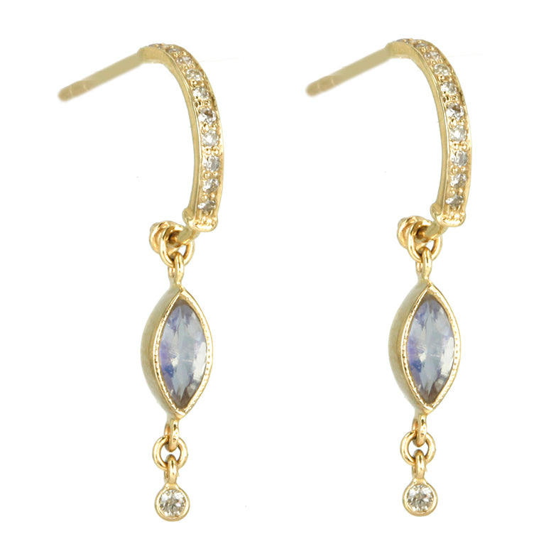 Pave Diamond Hoop Earring with Marquise Moonstone Drop