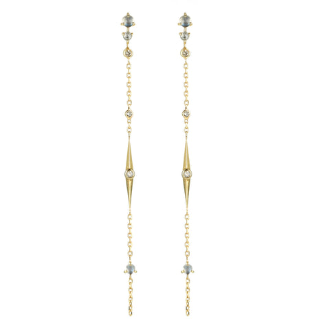 "Moonstone, Diamond, and ""Sun Beam"" Spike Chain Earrings"
