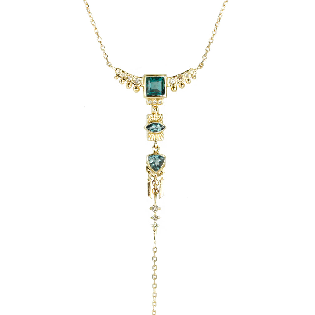 "Green Tourmaline and Diamond ""Totem"" Lariat Necklace"