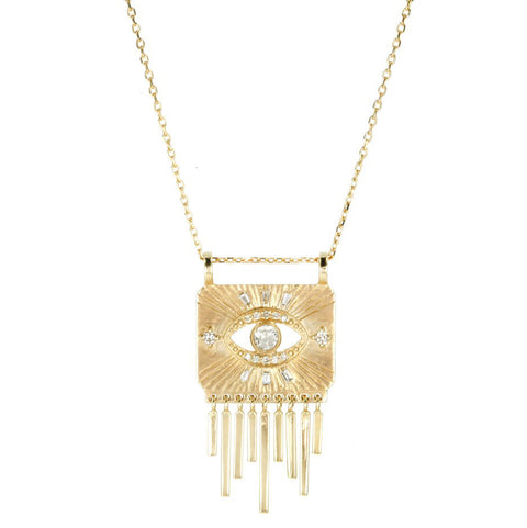 "Tourmaline and Diamond ""Open Eye"" Fringe Necklace"