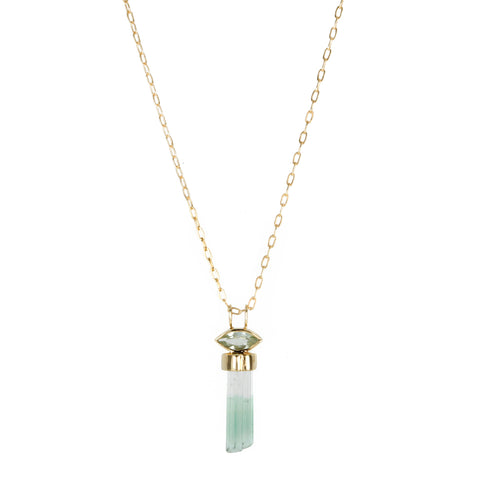 "Green Tourmaline ""Pencil"" Drop Necklace"