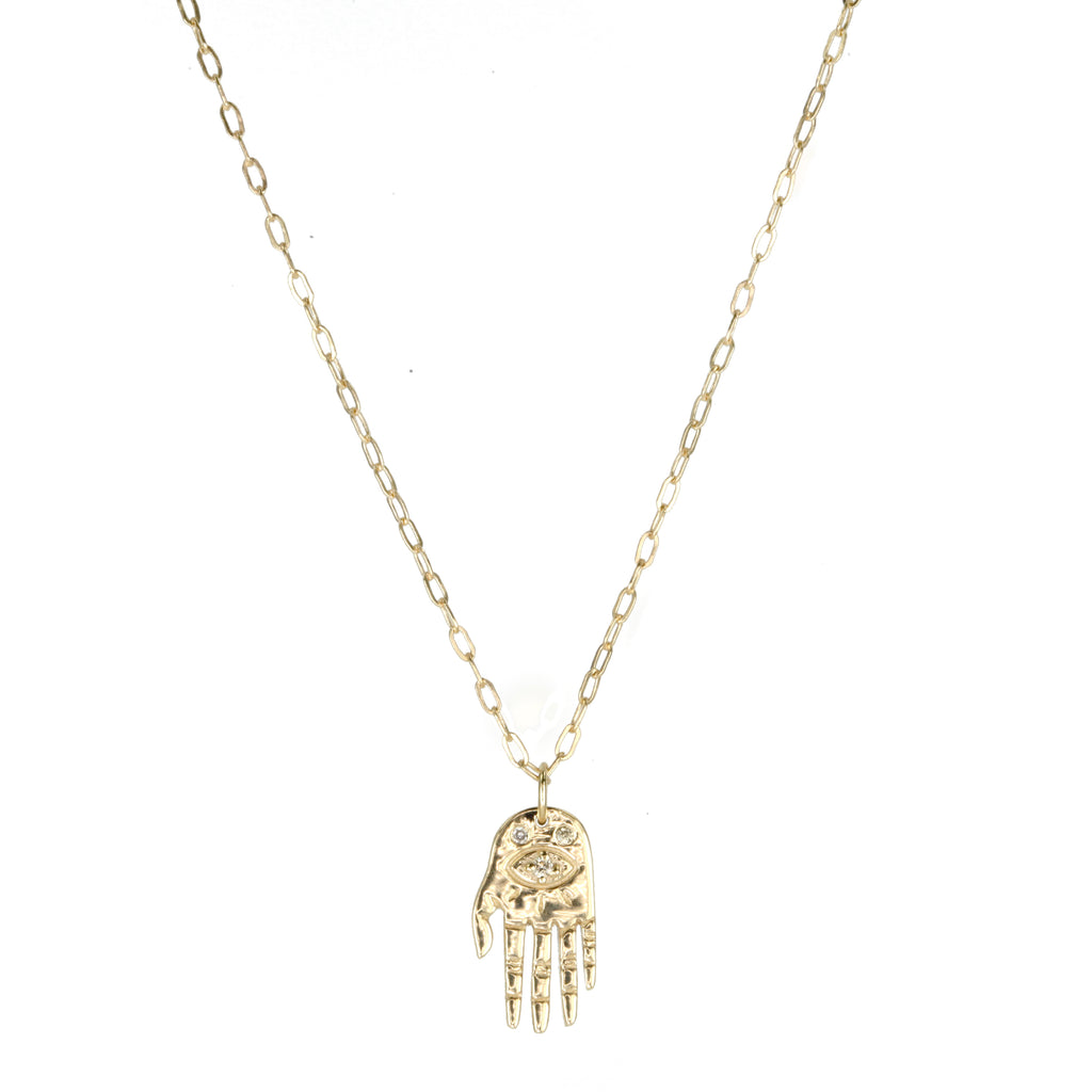 "Celine Daoust Gold ""Tiny Hand"" Necklace with Diamonds"