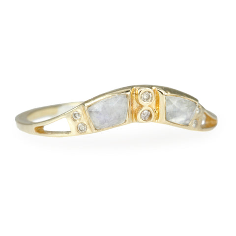 "Moonstone and Diamond ""Crown"" Ring"