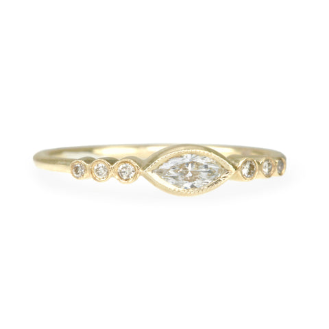 Marquise Diamond Ring with Round Diamond Shoulder Details