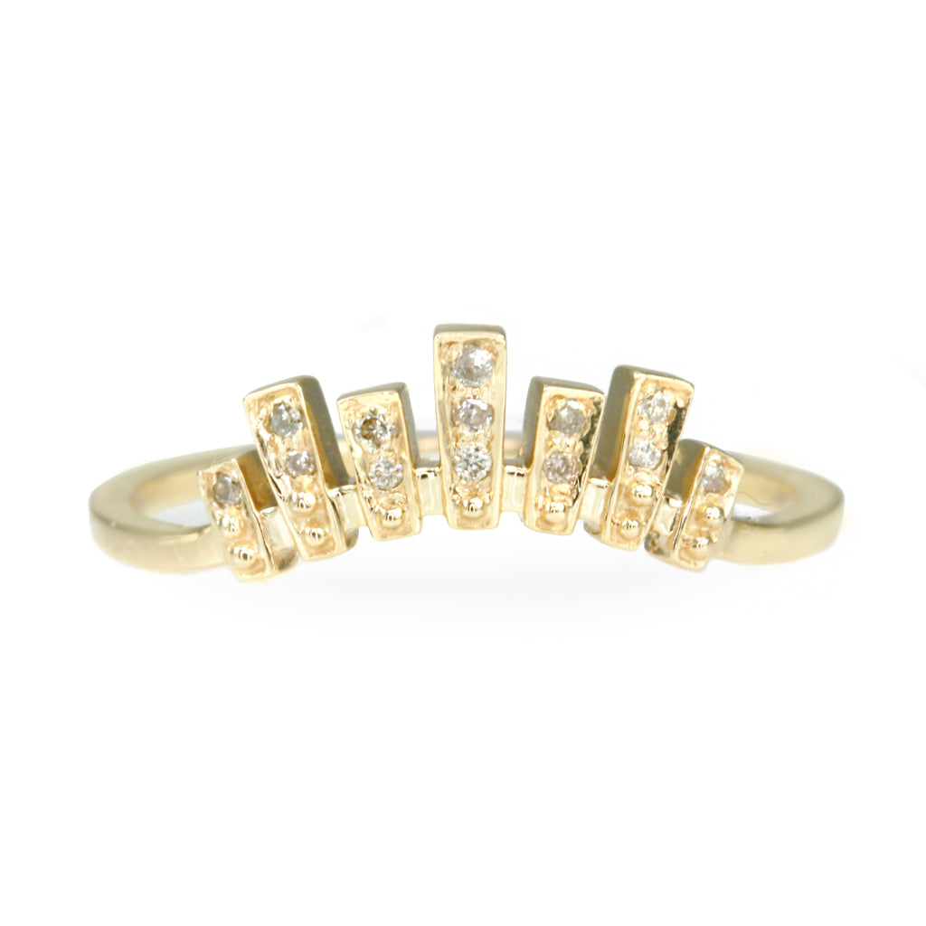 "Gold Pave Diamond ""Baguette"" Curved Ring"