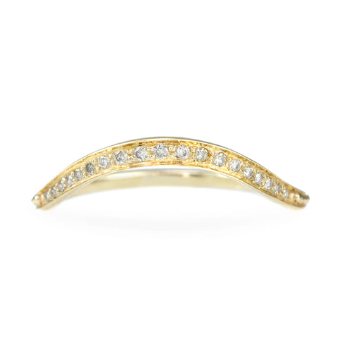 "Gold and Graduted Pave Diamond ""Crown"" Ring"